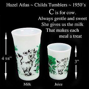 Hazel Atlas ~ C is for Cow ~ Juice & Milk Tumblers