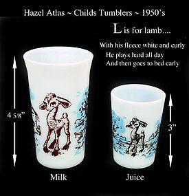 Hazel Atlas ~ L is for Lamb ~ Juice & Milk Tumblers