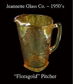 Jeannette Glass~ Floragold Tall Pitcher~Beautiful! 50's