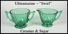 Jeannette Ultramarine Swirl Creamer and Sugar Set
