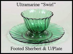 Jeannette Ultramarine Swirl Ftd Sherbert & Underplate