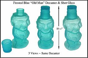"Vintage Blue Frosted ""Old Man"" Decanter & Shot Glass"