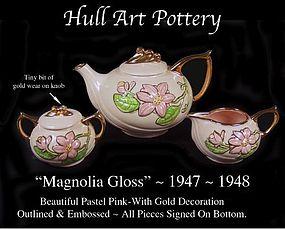 Hull Art Pottery~Magnolia Gloss~5 pc Gold Dec Tea Set