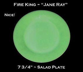 "Fire King Jadeite ""Jane Ray"" 7 3/4"" Salad Plate"