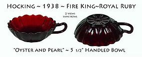 Hocking Fire King Ruby OYSTER & PEARL 1 Handle Bowl