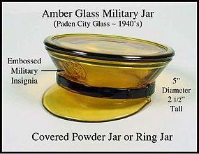 Paden City ~ Military Dress Hat ~ Cov Powder Jar-1940's