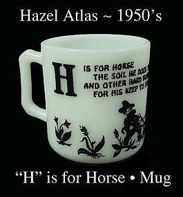 Hazel Atlas H is for Horse Alphabet Mug-1950s