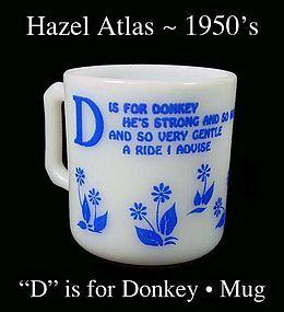 Hazel Atlas  D is for Donkey Alphabet Mug-1950s