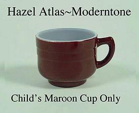 Hazel Atlas Fired On Moderntone Maroon Cup Only