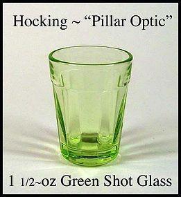 Hocking Pillar Optic Green 1 1/2 oz Shot Glass