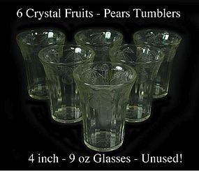 "Hazel Atlas Crystal ""Fruits"" 4 inch 9oz Tumbler W/Pears"
