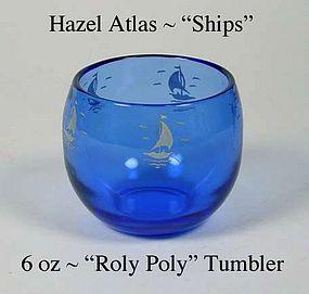 "Hazel Atlas Cobalt ""Ships"" Sailboat 6oz Roly Poly Tumbl"