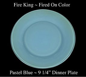 Fire King Fired On Color ~ Pastel Blue Dinner Plate