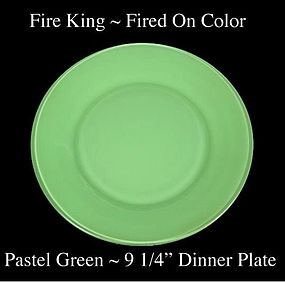Fire King Fired On Color ~ Pastel Green Dinner Plate