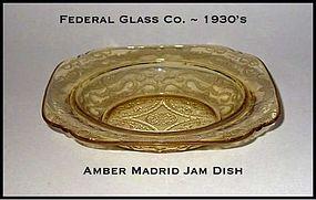 Federal Glass ~ Amber Madrid ~ Shallow Jam Dish