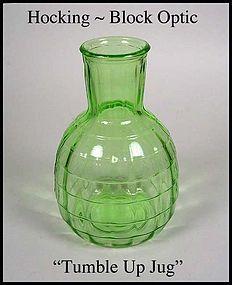 Hocking Glass ~ Block Optic Green Tumble Up Jug 1930s