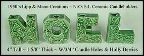 Vintage Green Ceramic NOEL Letters Candle Holders ~