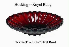 "Hocking Royal Ruby Rachael 12"" Oval Console Bowl"