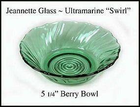 """Jeannette ~ Ultramarine Swirl 5 1/4"""" Berry Bowl~ 1930's"""