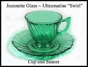 Jeannette ~ Ultramarine Swirl Cup and Saucer l~ 1930's