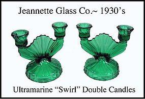 Jeannette~Ultramarine Swirl Pair of Dbl Candles~1930's