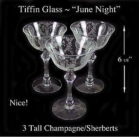 Tiffin Glass ~ June Night ~ 3 Tall Champagne Sherberts