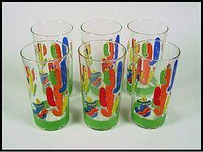Libbey 6 Mexican Scene Fiesta Style 12 oz Tea Glasses