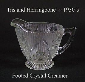 Jeannette Glass Iris and Herringbone Crystal Creamer