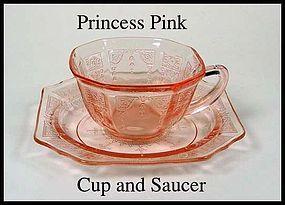 Hocking Glass ~ Princess Pink Cup and Saucer