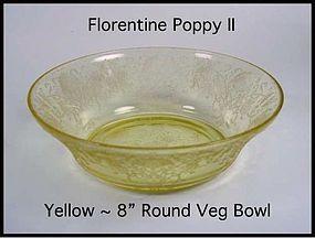 """Hazel Atlas Yellow Florentine Poppy II 8"""" Bowl"""