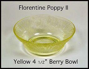 """Hazel Atlas Yellow Florentine Poppy II 4 1/2"""" Berry Bwl"""