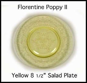 "Hazel Atlas Yell Florentine Poppy II 8 1/2"" Salad Plate"