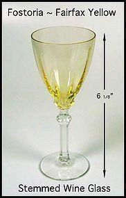 Fostoria Fairfax Topaz Yellow Wine Goblet