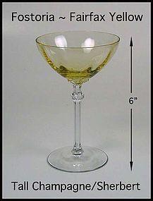 Fostoria Fairfax Topaz Yellow Tall Champagne/ Sherbert