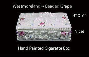 Westmoreland Glass ~ Beaded Grape HP Cigarette Box