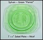 "Green Sylvan Parrot Depression Glass 7 1/2"" Salad Plate"
