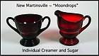 Moondrops Red ~ New Martinsville Individual Cream & Sug