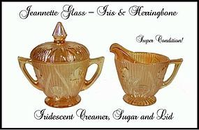 Iris and Herringbone Irridescent Creamer-Sugar & Cover