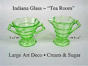 Indiana Glass ~ Tea Room Green Large Cream & Sugar