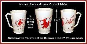 Hazel Atlas Glass Little Red Riding Hood Handled Mug