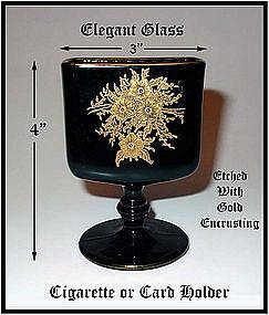 Elegant Gold Encrusted Etched Black Ftd Cigarette Jar