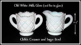 Westmoreland English Hobnail Style Childs Cream & Sugar