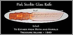 Pink Steelite Grid Handle Souvenir Glass Fruit Knife