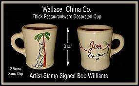 Wallace China RW Thick Figural Christmas Souvenir Mug