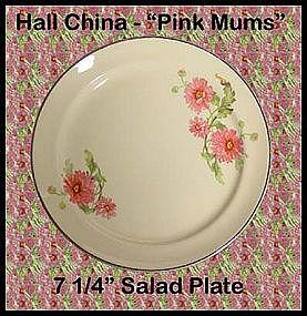 Hall China Pink Mums 7 inch Salad Plate