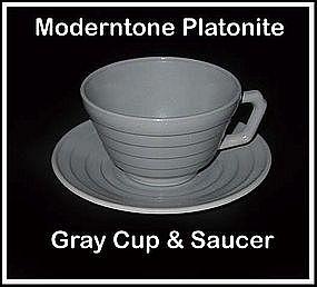 Moderntone Platonite Gray Cup and Saucer