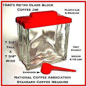Wonderful 1940s Retro Kitchen Coffee Jar w/Plastic Lid