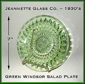 Jeannette Glass Green Windsor 7 inch Salad Plate