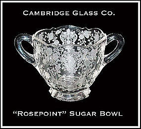 Cambridge Glass Co. ~ Rosepoint Unusual Sugar Bowl