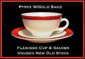 Pyrex Gold Trim Flamingo Color Band Cup/Saucer Unused